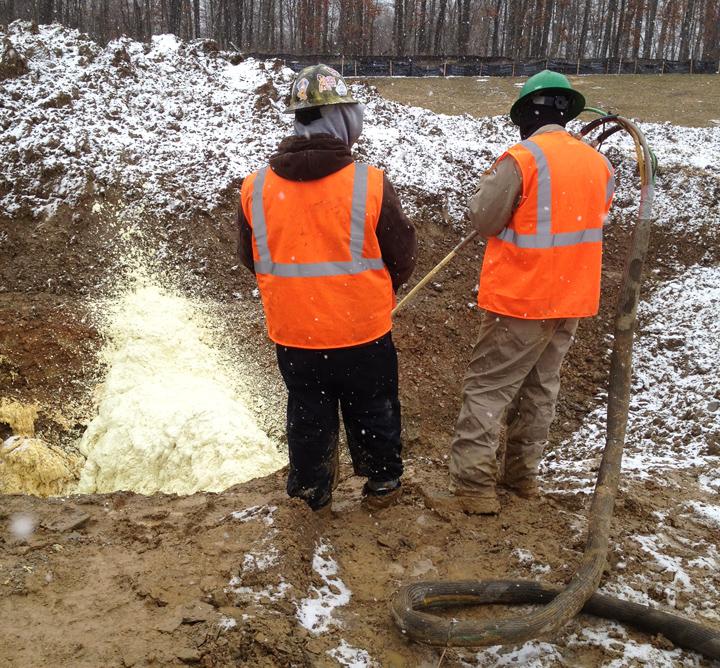Utility Industry / Inground Gas Pipeline Breaker Urethane Foam Application