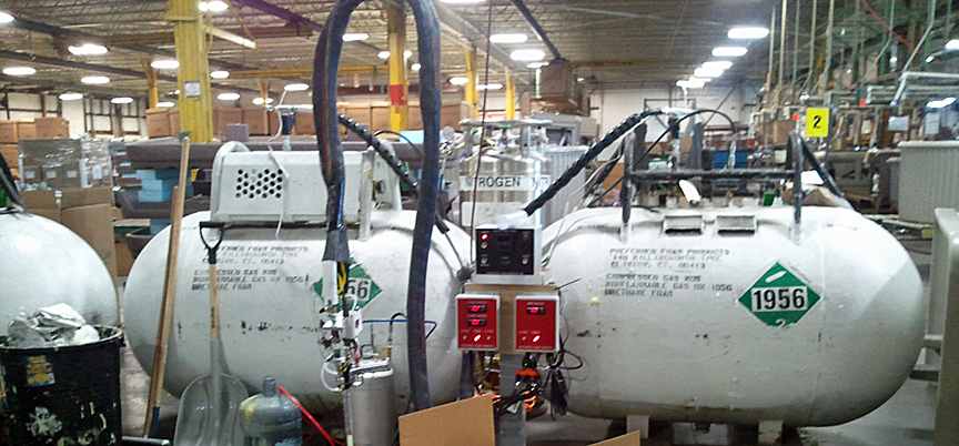 Urethane foam tanks, A and B side shown