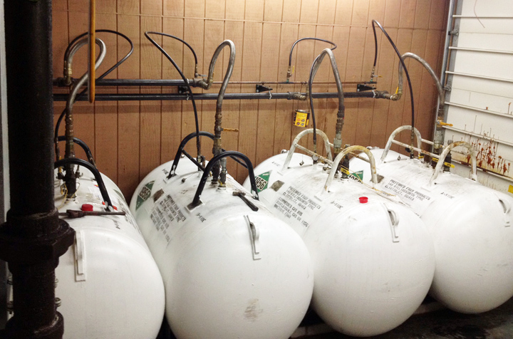 Urethane foam tanks, A and B side shown in a heated tank storage room.